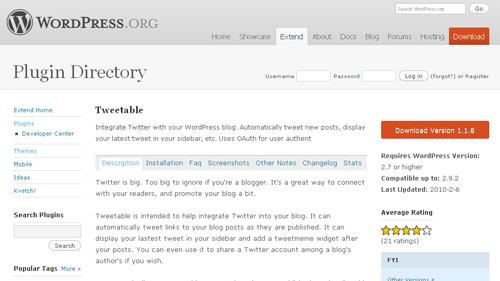 「Tweetable」プラグイン公式ディレクトリ