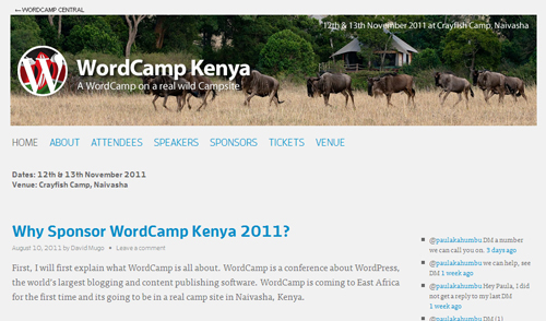WordCamp Kenya 2011のサイト