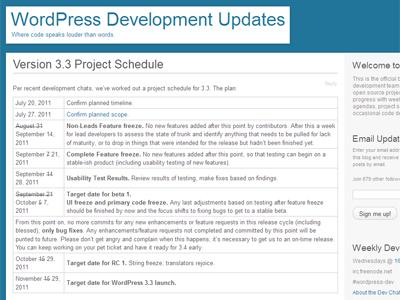 WordPress3.3の公開スケジュール